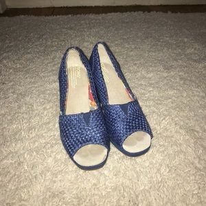 Blue Tom wedges heels